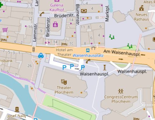 Kartendarstellung der Pforzheimer Zerrennerstraße zwischen Leopold- und Deimlingstraße